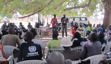 UNMISS conducts community outreach activity at Abinajok South Sudan water facilities seeds